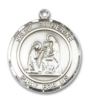 Sterling Silver St. Catherine of Siena Pendant 18 inch Sterling Silver Curb Chain
