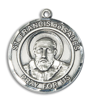 Sterling Silver St. Francis de Sales Pendant 18 inch Sterling Silver Curb Chain