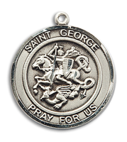 Sterling Silver St. George Pendant 18 inch Sterling Silver Curb Chain