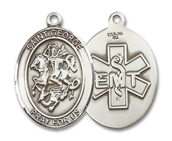 Sterling Silver St. George / Emt Pendant Sterling Silver Lite Curb Chain