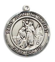 Sterling Silver St. John the Baptist Pendant 18 inch Sterling Silver Curb Chain