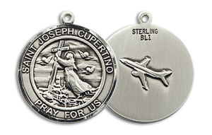 Sterling Silver St. Joseph of Cupertino Pendant 18 inch Sterling Silver Curb Chain