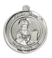 Sterling Silver St. Paul the Apostle Pendant 18 inch Sterling Silver Curb Chain