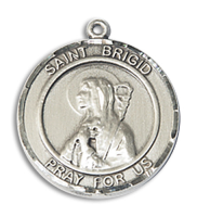 Sterling Silver St. Brigid of Ireland Pendant 18 inch Sterling Silver Curb Chain