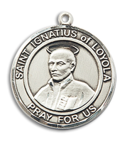 Sterling Silver St. Ignatius of Loyola Pendant 18 inch Sterling Silver Curb Chain