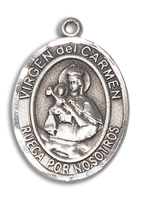 Sterling Silver Virgen del Carmen Pendant 18 inch Sterling Silver Curb Chain