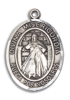 Sterling Silver Divina Misericordia Pendant 18 inch Sterling Silver Curb Chain