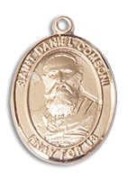 14kt Gold Filled St. Daniel Comboni Pendant 18 inch Gold Filled Curb Chain