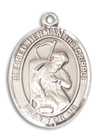 Sterling Silver Blessed Herman the Cripple Pendant 18 inch Sterling Silver Curb Chain