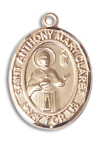 14kt Gold Filled St. Anthony Mary Claret Pendant 18 inch Gold Filled Curb Chain
