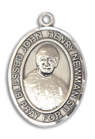 Sterling Silver Blessed John Henry Newman Pendant 18 inch Sterling Silver Curb Chain