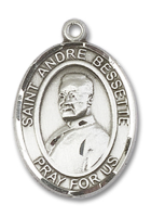 Sterling Silver St. Andre Bessette Pendant 18 inch Sterling Silver Curb Chain
