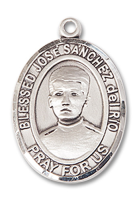 Sterling Silver Blessed Jose Canchez del Rio Pendant 18 inch Sterling Silver Curb Chain