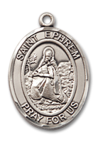 Sterling Silver St. Ephrem Pendant 18 inch Sterling Silver Curb Chain