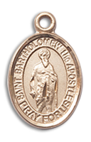 14kt Gold Filled St. Bartholomew The Apostle Pendant GF Lite Curb Chain