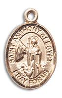 14kt Gold Filled St. Anthony Of Egypt Pendant GF Lite Curb Chain