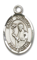 Sterling Silver St. Dunstan Pendant SS Lite Curb Chain