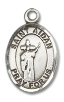 Sterling Silver St. Aidan Of Lindesfarne Pendant SS Lite Curb Chain