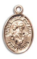 14kt Gold Filled St. Peter Pendant 18 inch Gold Filled Curb Chain