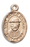 14kt Gold Filled St. Damien of Molokai Pendant 18 inch Gold Filled Curb Chain
