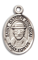 Sterling Silver St. Damien of Molokai Pendant 18 inch Sterling Silver Curb Chain