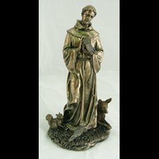 "12"" Bronzed Resin St. Francis"