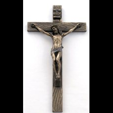 "10"" Bronzed Resin Crucifix"