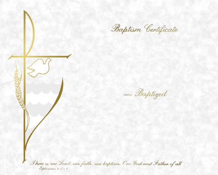 Baptism Certificate | XB-112 | Stempers Church Supplies