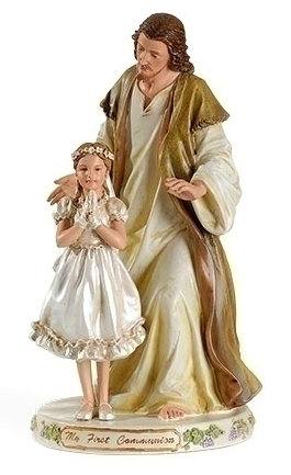 First Communion Statue of Girl with Christ