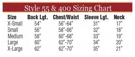 Sizing Chart for Style 55 Alb