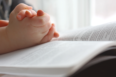 Child studying bible