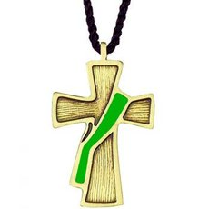 Deacon cross on cord, bronze and green