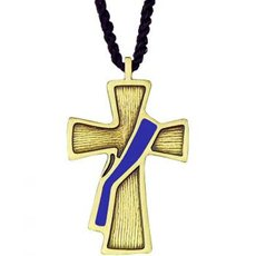 Deacon cross on cord, bronze and purple