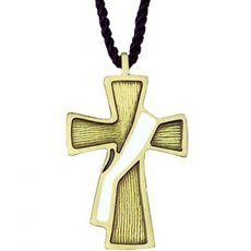 Deacon cross on cord, bronze and white