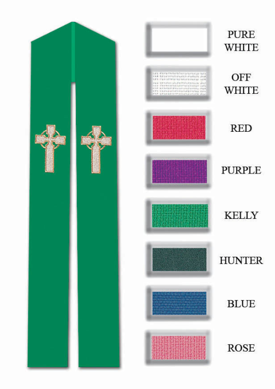 Celtic Cross Stole - Overlay or Deacon - 8 Colors Available