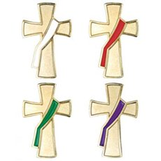 Deacon Pin Set - white, red, green and purple on gold