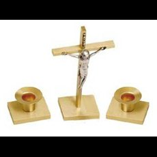 Altar Crucifix and Candlesticks (pair) Set