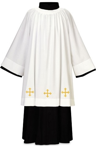 White Surplice with Gold Cross Decor