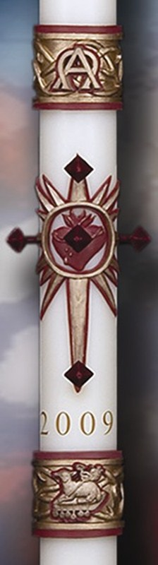 Sacred Heart Paschal Candle - 1-1/2 x 34